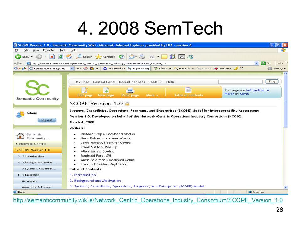 26 4. 2008 SemTech http://semanticommunity.wik.is/Network_Centric_Operations_Industry_Consortium/SCOPE_Version_1.0