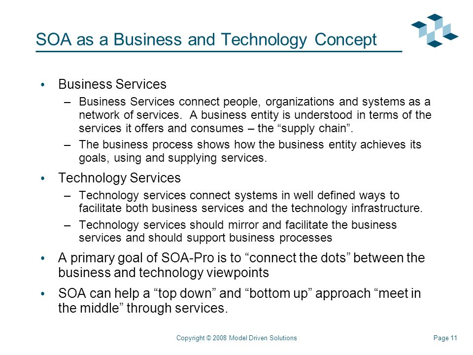 Page 11Copyright © 2008 Model Driven Solutions SOA as a Business and Technology Concept Business Services –Business Services connect people, organizations and systems as a network of services.