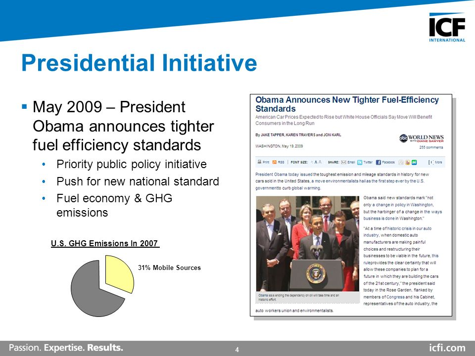 4 Presidential Initiative May 2009 – President Obama announces tighter fuel efficiency standards Priority public policy initiative Push for new national standard Fuel economy & GHG emissions 31% Mobile Sources U.S.