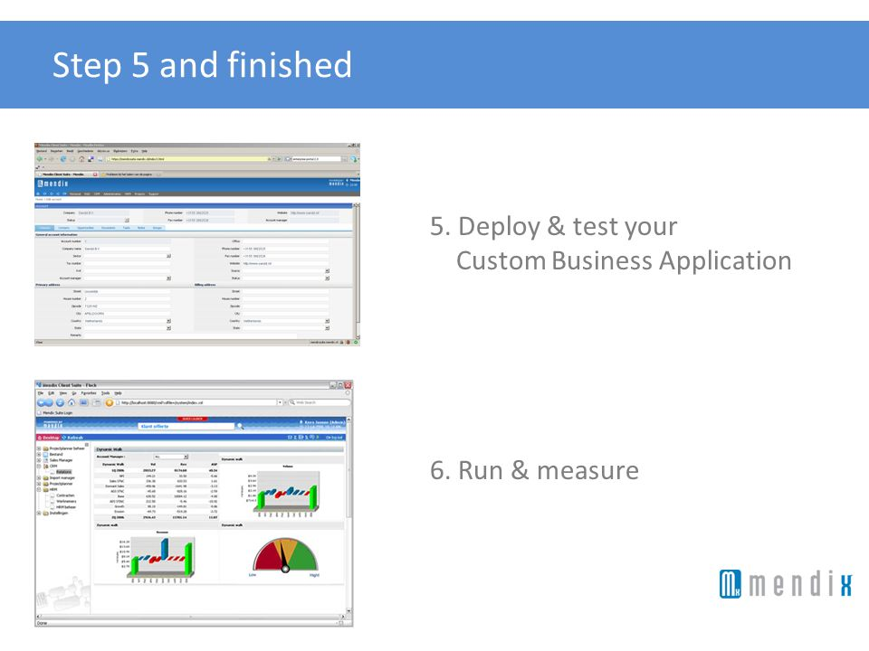 Step 5 and finished 5. Deploy & test your Custom Business Application 6. Run & measure