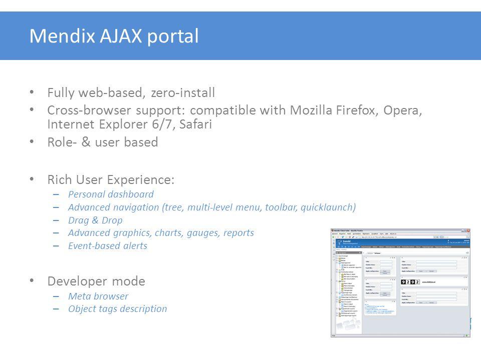 Mendix AJAX portal Fully web-based, zero-install Cross-browser support: compatible with Mozilla Firefox, Opera, Internet Explorer 6/7, Safari Role- &