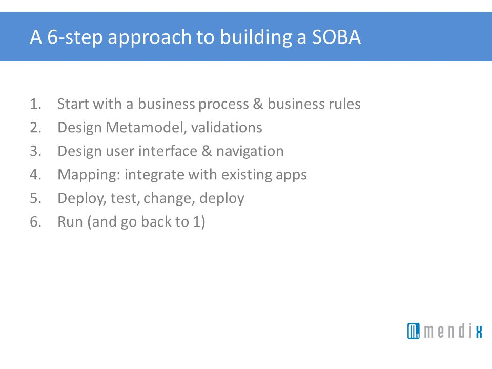 A 6-step approach to building a SOBA 1.Start with a business process & business rules 2.Design Metamodel, validations 3.Design user interface & naviga