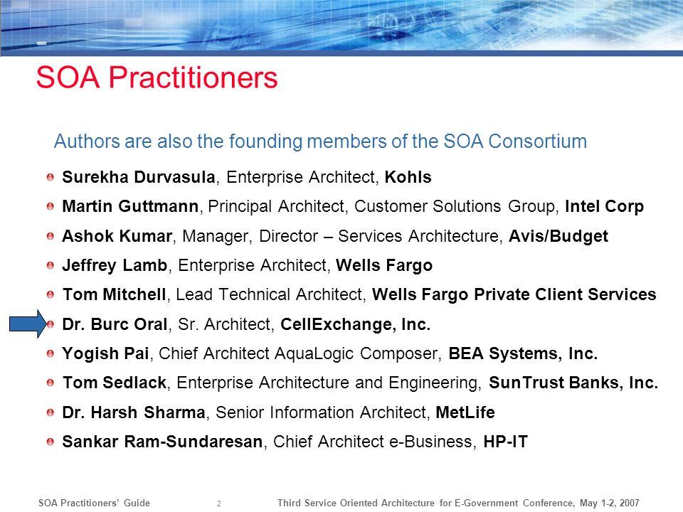Third Service Oriented Architecture for E-Government Conference, May 1-2, 2007SOA Practitioners Guide 2 Surekha Durvasula, Enterprise Architect, Kohls
