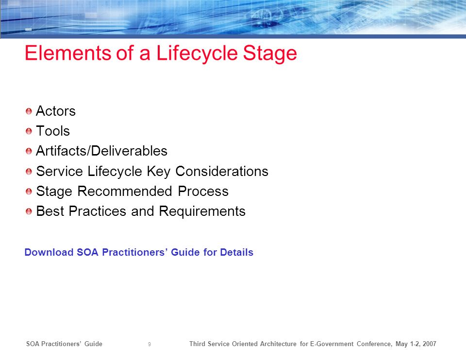 Third Service Oriented Architecture for E-Government Conference, May 1-2, 2007SOA Practitioners Guide 9 Elements of a Lifecycle Stage Actors Tools Art