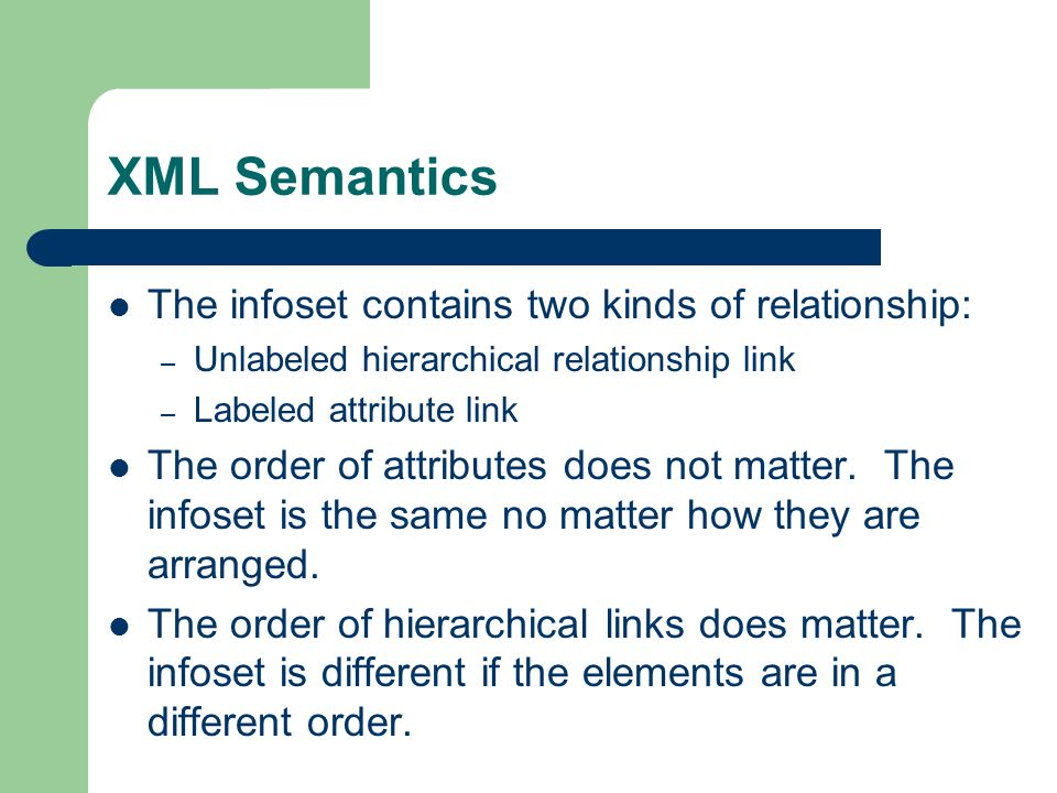 XML Semantics The infoset contains two kinds of relationship: – Unlabeled hierarchical relationship link – Labeled attribute link The order of attributes does not matter.