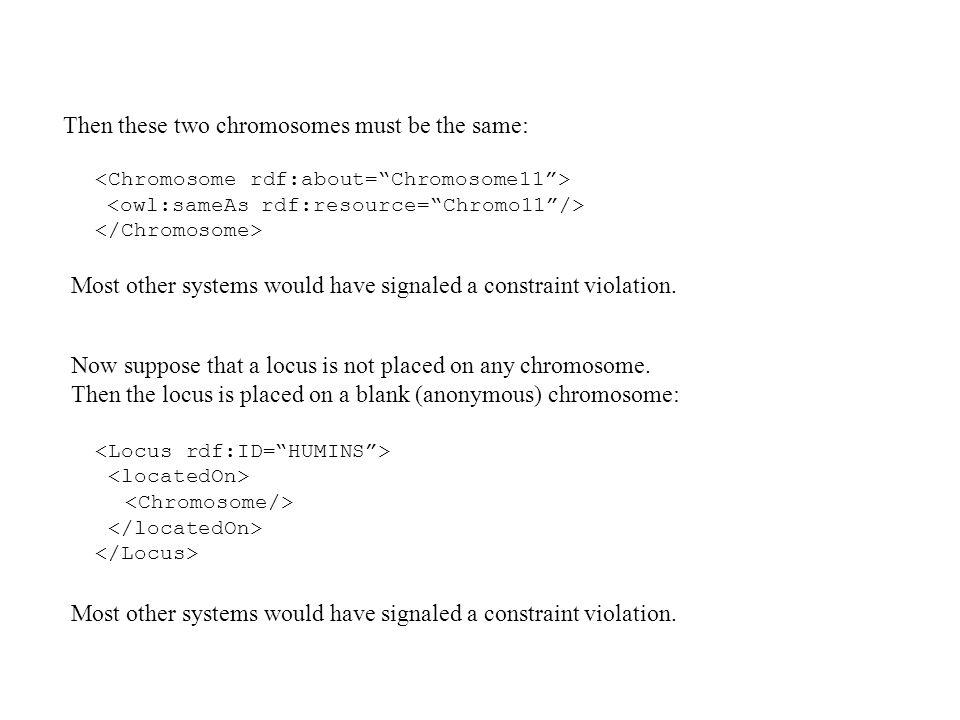 Then these two chromosomes must be the same: Most other systems would have signaled a constraint violation.