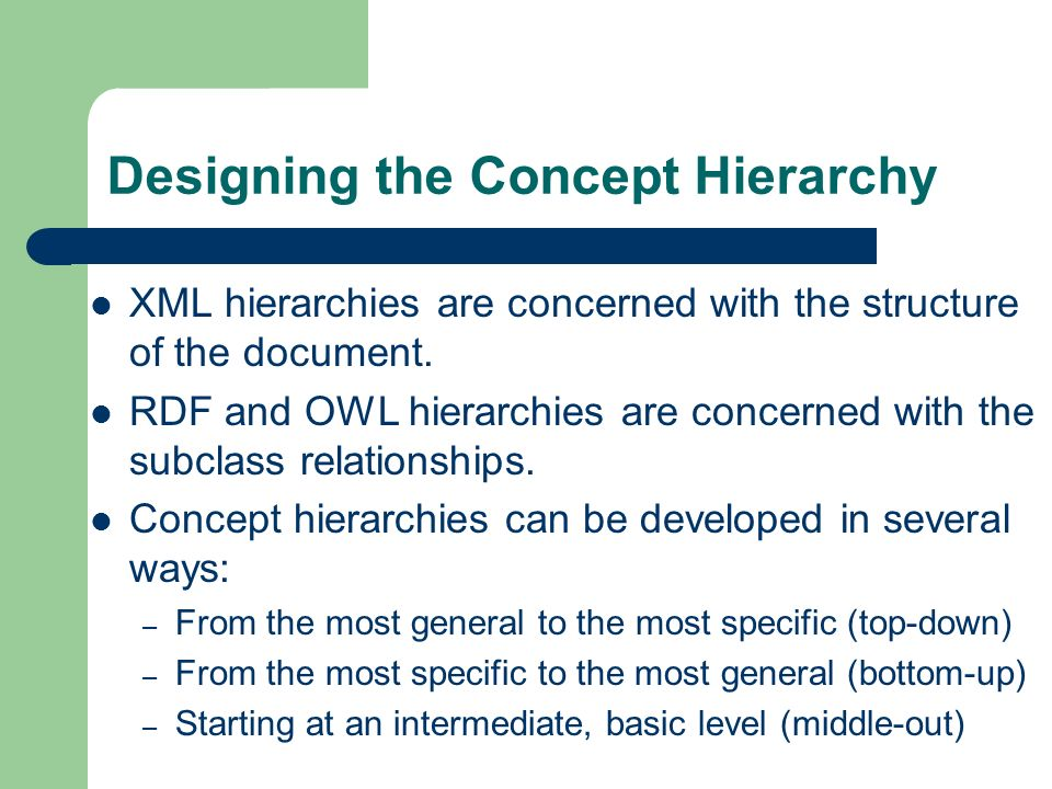 Designing the Concept Hierarchy XML hierarchies are concerned with the structure of the document.