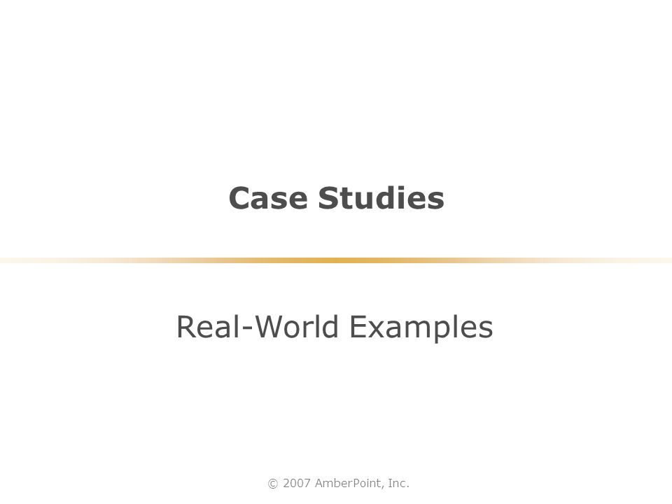 Case Studies © 2007 AmberPoint, Inc. Real-World Examples