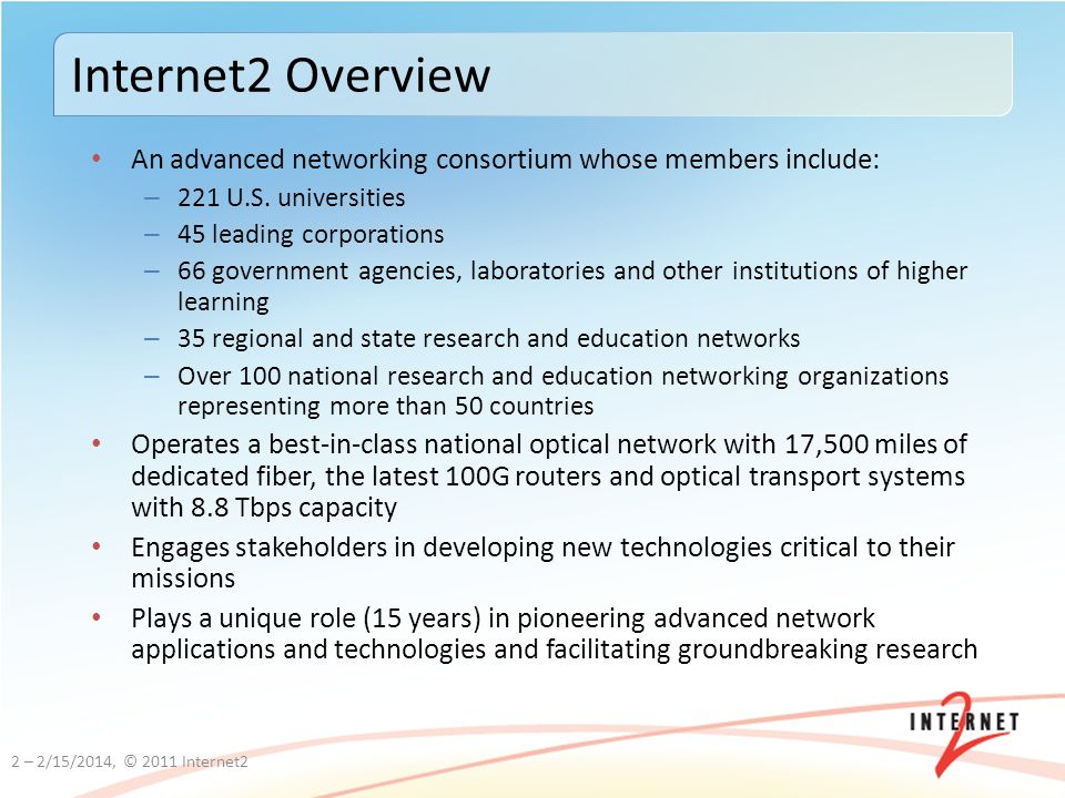 An advanced networking consortium whose members include: – 221 U.S.
