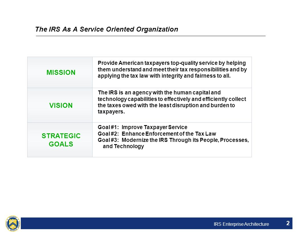 IRS Enterprise Architecture 2 The IRS As A Service Oriented Organization MISSION Provide American taxpayers top-quality service by helping them unders