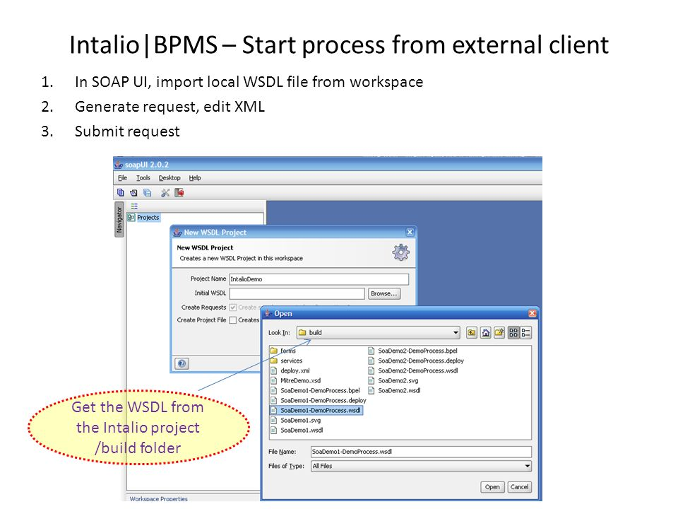 Intalio|BPMS – Start process from external client 1.In SOAP UI, import local WSDL file from workspace 2.Generate request, edit XML 3.Submit request Ge