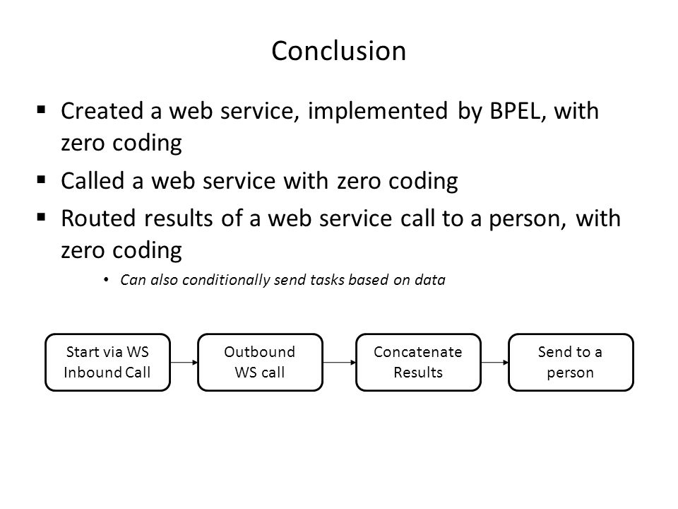 Conclusion Created a web service, implemented by BPEL, with zero coding Called a web service with zero coding Routed results of a web service call to