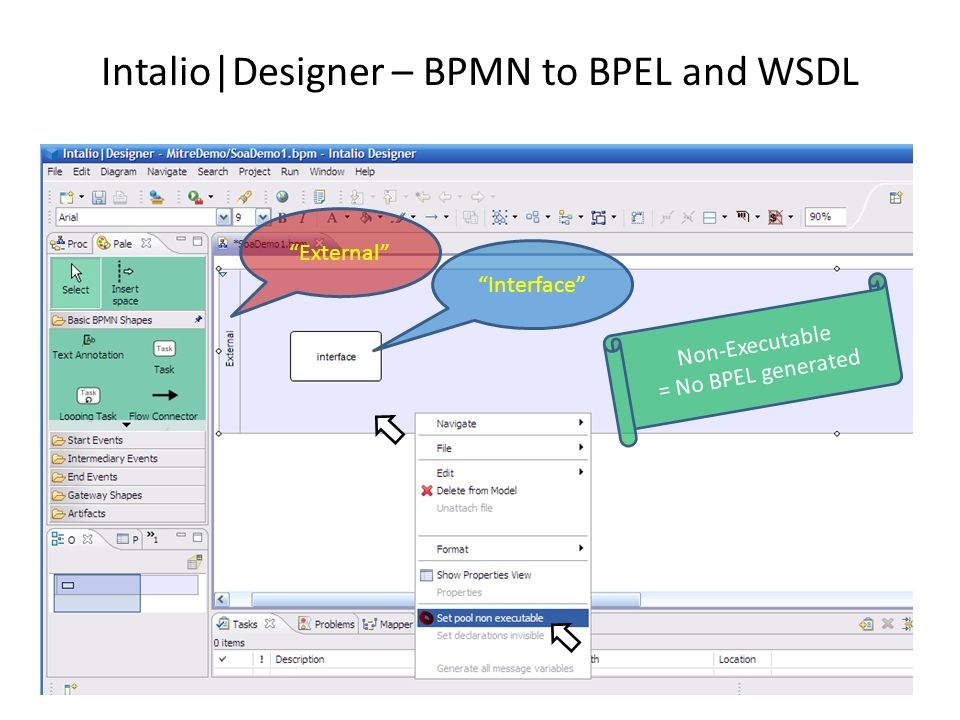Intalio Designer – BPMN to BPEL and WSDL Create an executable pool in the BPMN diagram DemoProcess Executable Process Pool