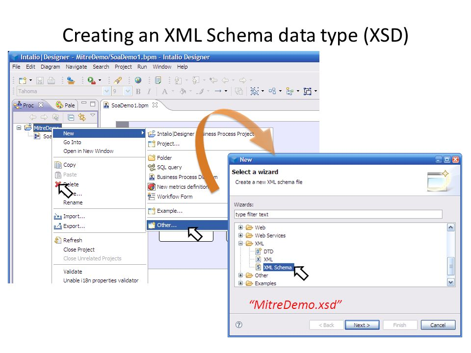 Intalio Designer – Import WSDL Import WSDL from local file – copy and paste into workspace Import WSDL from URL – import wizard http://localhost:8080/axis2/services/Version?wsdl