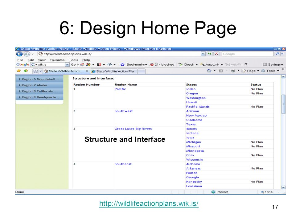 17 6: Design Home Page   Structure and Interface