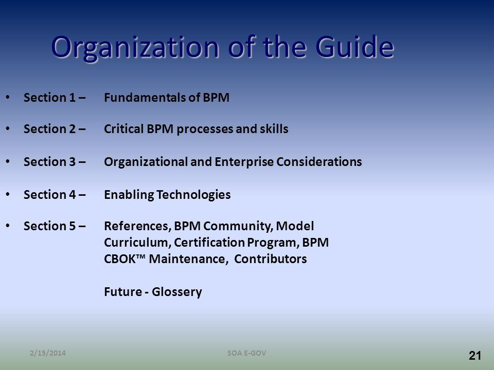 21 Organization of the Guide Section 1 – Fundamentals of BPM Section 2 – Critical BPM processes and skills Section 3 –Organizational and Enterprise Co