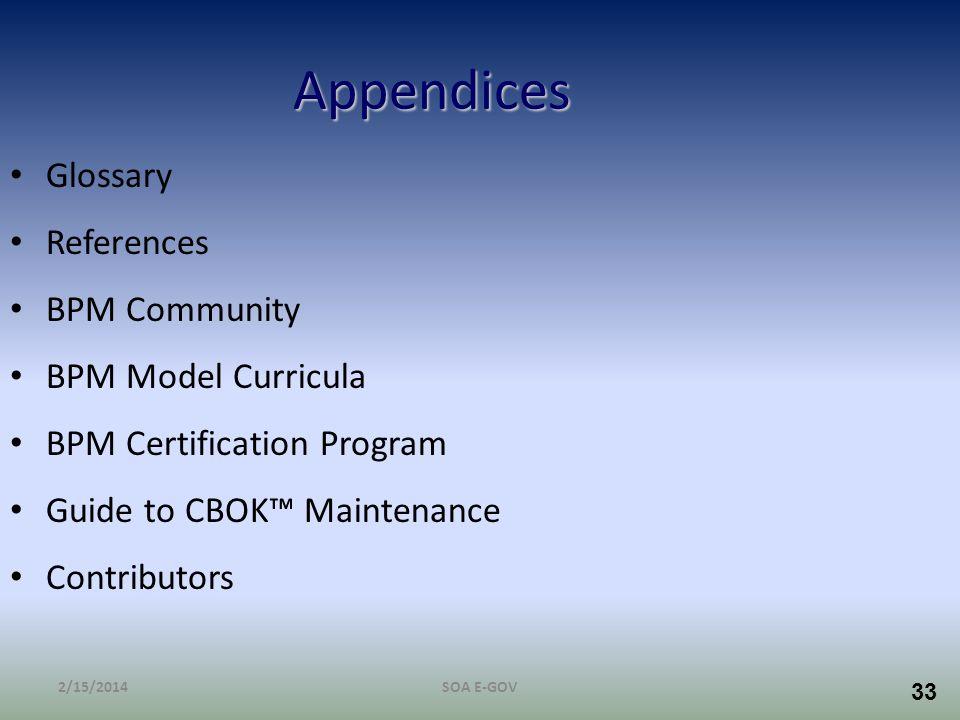 33 Appendices Glossary References BPM Community BPM Model Curricula BPM Certification Program Guide to CBOK Maintenance Contributors 2/15/2014SOA E-GO