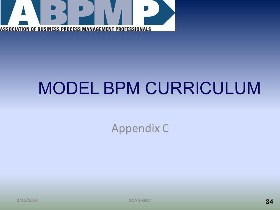 34 MODEL BPM CURRICULUM Appendix C 2/15/2014SOA E-GOV