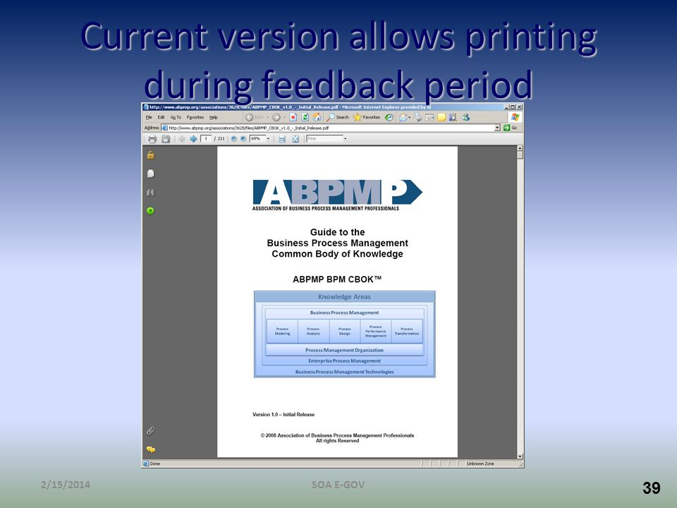 39 Current version allows printing during feedback period 2/15/2014SOA E-GOV