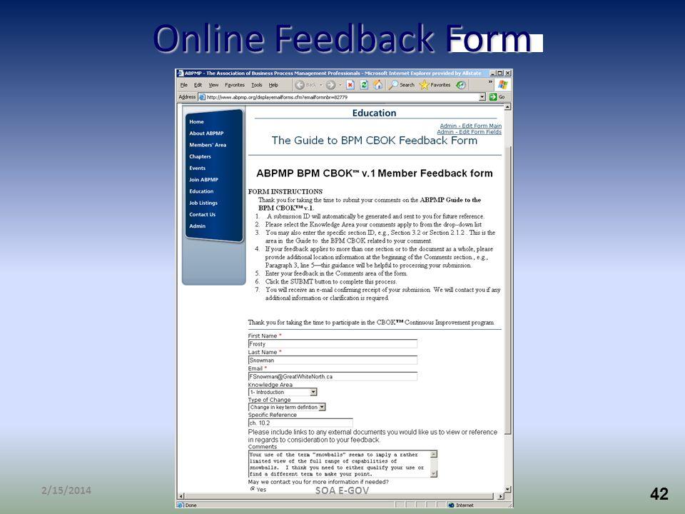 42 Online Feedback Form 2/15/2014SOA E-GOV