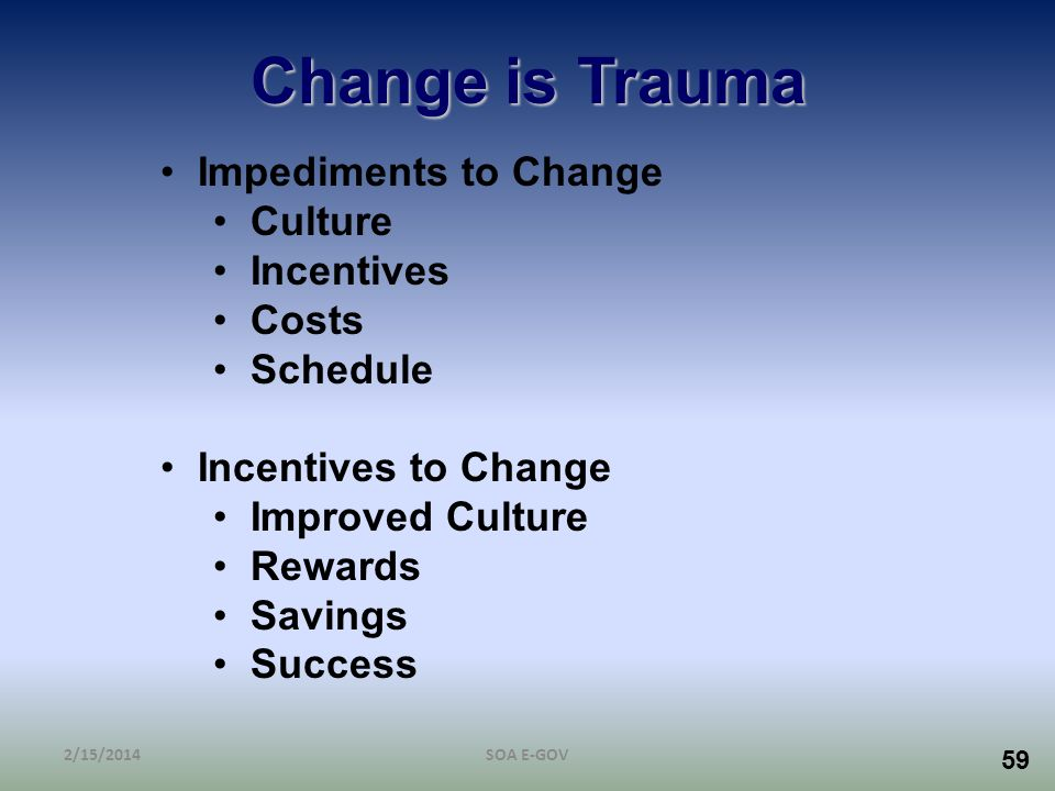 59 Change is Trauma Impediments to Change Culture Incentives Costs Schedule Incentives to Change Improved Culture Rewards Savings Success 2/15/2014SOA