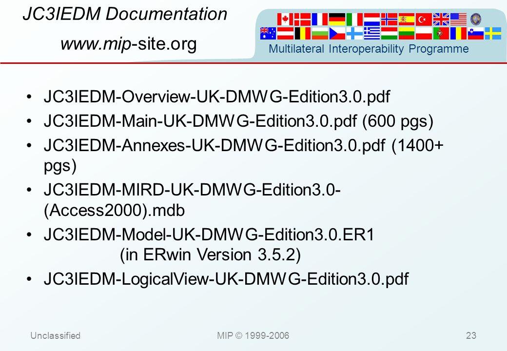 Multilateral Interoperability Programme UnclassifiedMIP © 1999-200623 JC3IEDM Documentation www.mip-site.org JC3IEDM-Overview-UK-DMWG-Edition3.0.pdf J