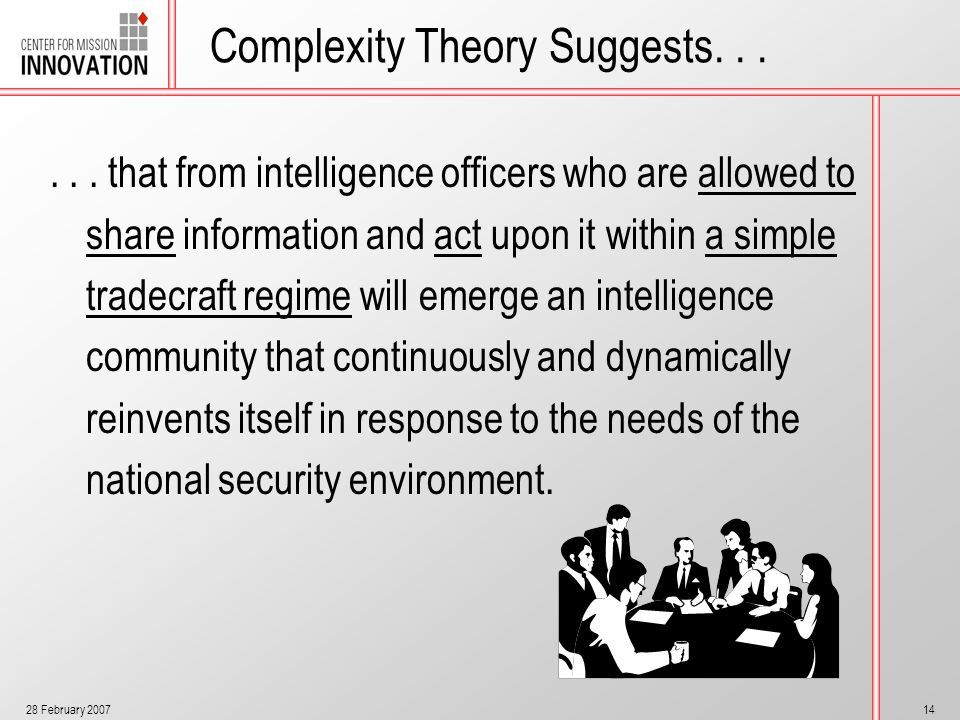 28 February 200714 Complexity Theory Suggests...... that from intelligence officers who are allowed to share information and act upon it within a simp