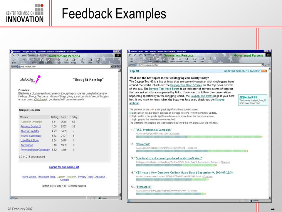 28 February 200744 Feedback Examples