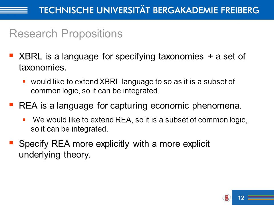 Research Propositions XBRL is a language for specifying taxonomies + a set of taxonomies.