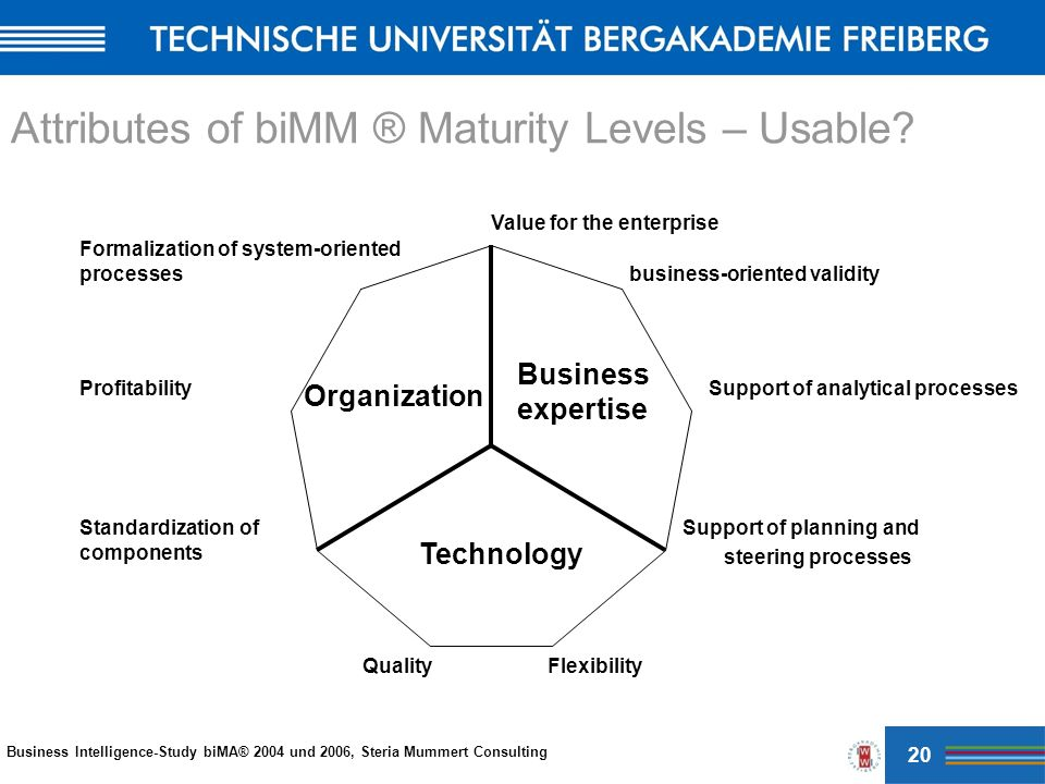 Value for the enterprise business-oriented validity Support of analytical processes Support of planning and steering processes FlexibilityQuality Standardization of components Profitability Formalization of system-oriented processes Business expertise Organization Technology Business Intelligence-Study biMA® 2004 und 2006, Steria Mummert Consulting Attributes of biMM ® Maturity Levels – Usable.