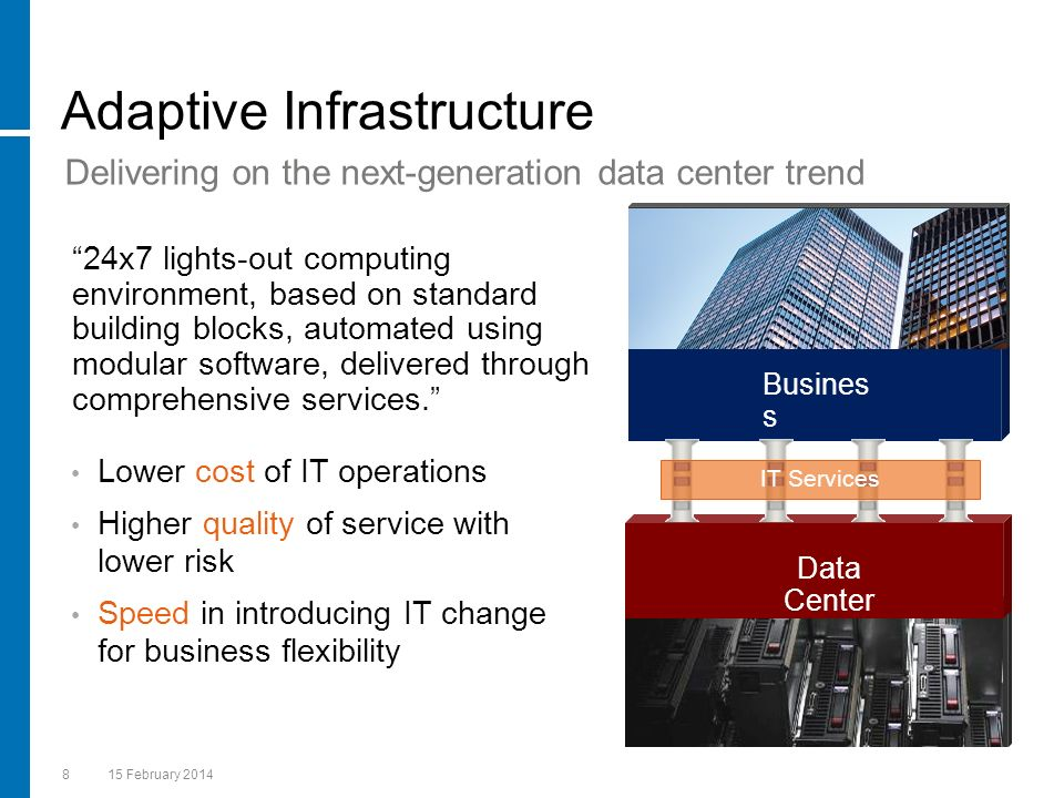 815 February 2014 Adaptive Infrastructure Lower cost of IT operations Higher quality of service with lower risk Speed in introducing IT change for bus