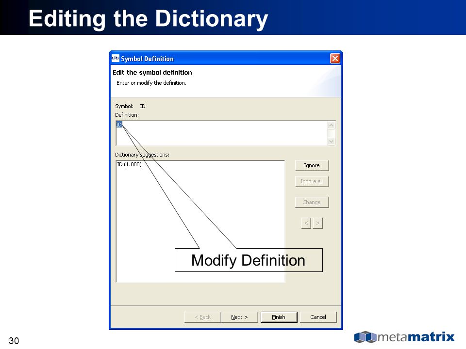 30 Editing the Dictionary Modify Definition
