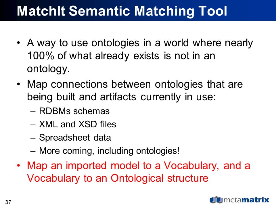 37 MatchIt Semantic Matching Tool A way to use ontologies in a world where nearly 100% of what already exists is not in an ontology. Map connections b