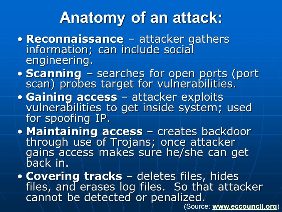 Anatomy of an attack: Reconnaissance – attacker gathers information; can include social engineering.Reconnaissance – attacker gathers information; can