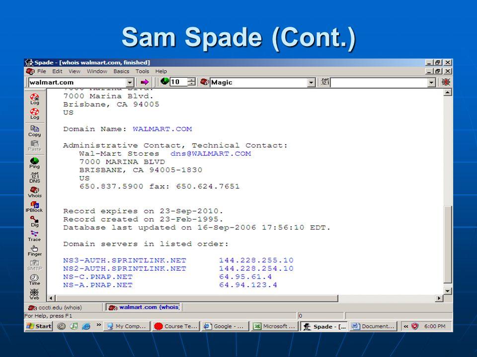 Sam Spade (Cont.)