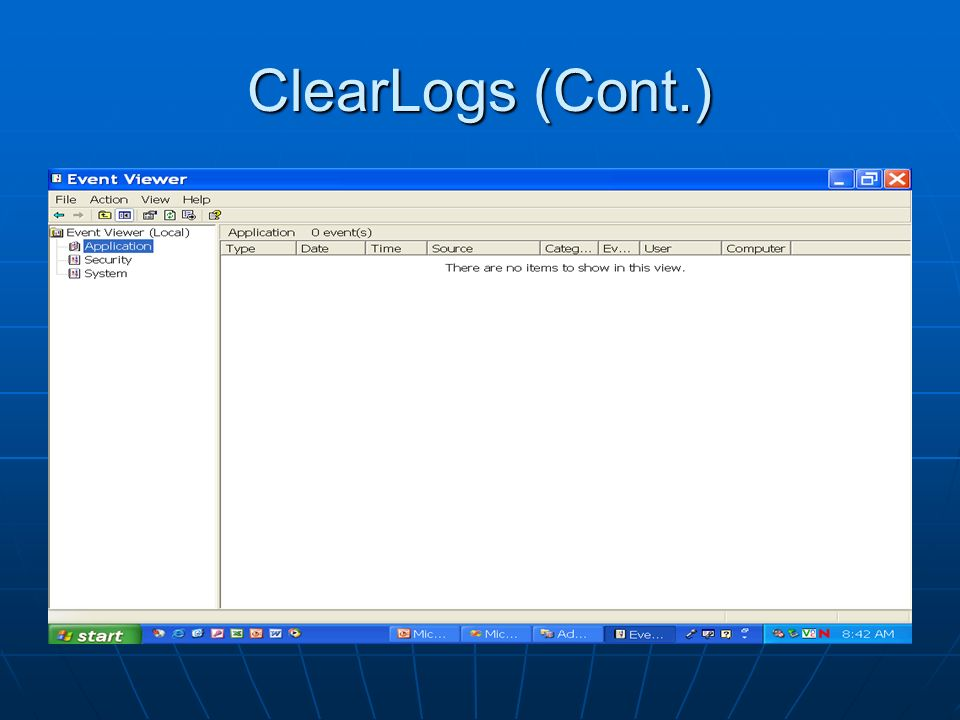 ClearLogs (Cont.)