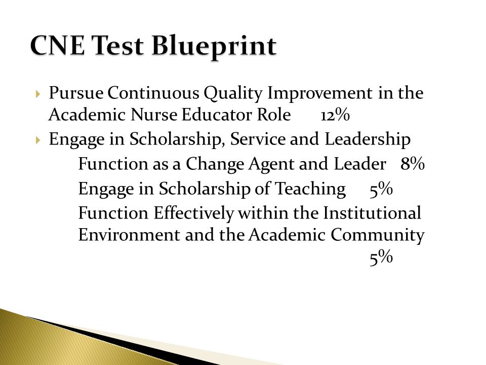 Pursue Continuous Quality Improvement in the Academic Nurse Educator Role12% Engage in Scholarship, Service and Leadership Function as a Change Agent