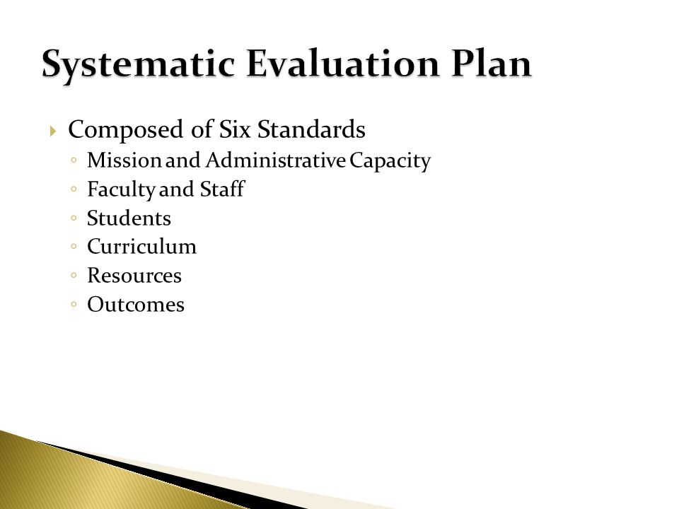 Composed of Six Standards Mission and Administrative Capacity Faculty and Staff Students Curriculum Resources Outcomes