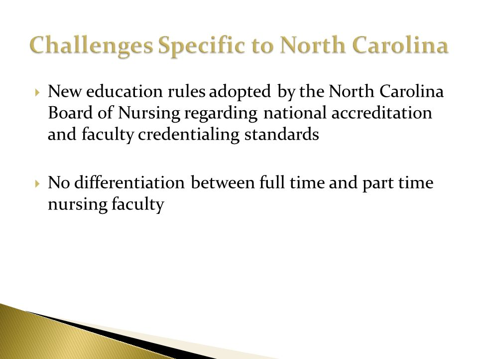 New education rules adopted by the North Carolina Board of Nursing regarding national accreditation and faculty credentialing standards No differentia