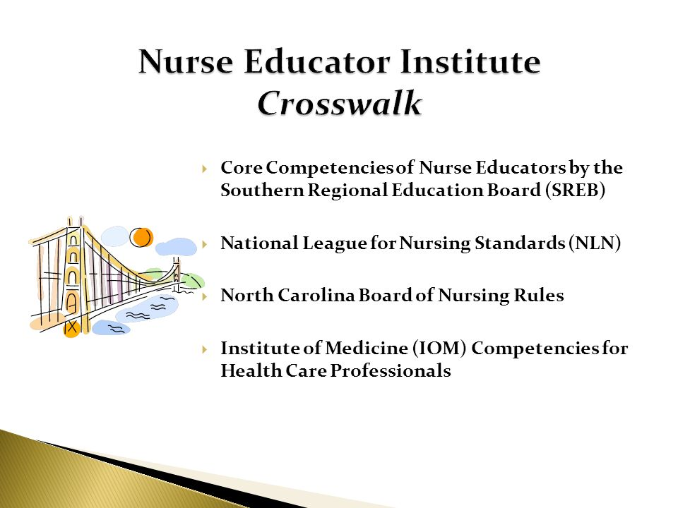 Core Competencies of Nurse Educators by the Southern Regional Education Board (SREB) National League for Nursing Standards (NLN) North Carolina Board