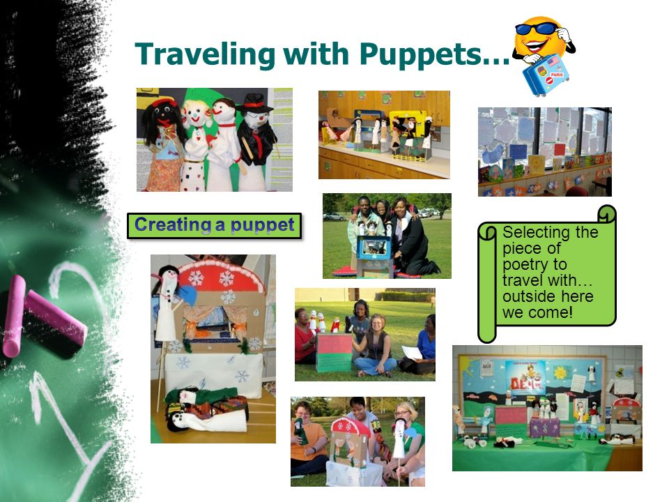 Traveling with Puppets… Selecting the piece of poetry to travel with… outside here we come!