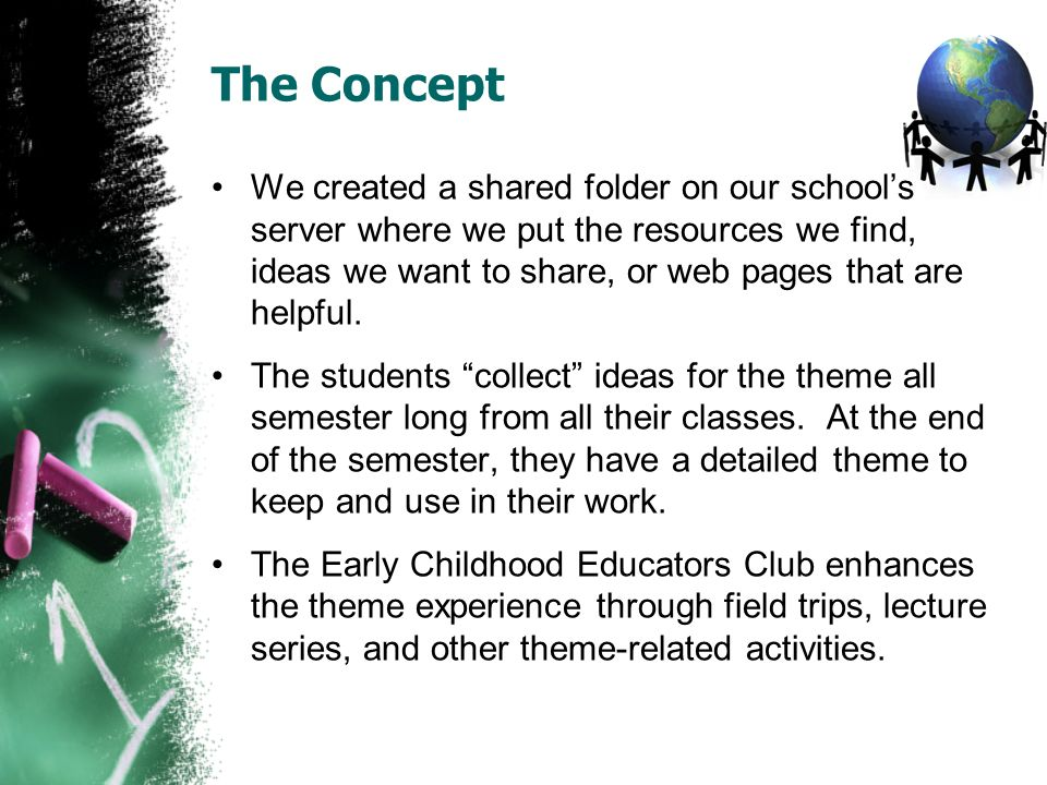The Concept We created a shared folder on our schools server where we put the resources we find, ideas we want to share, or web pages that are helpful.