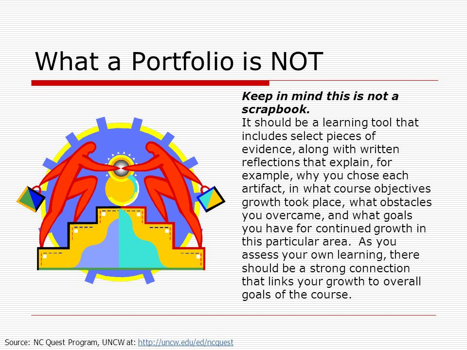 What a Portfolio is NOT Keep in mind this is not a scrapbook. It should be a learning tool that includes select pieces of evidence, along with written