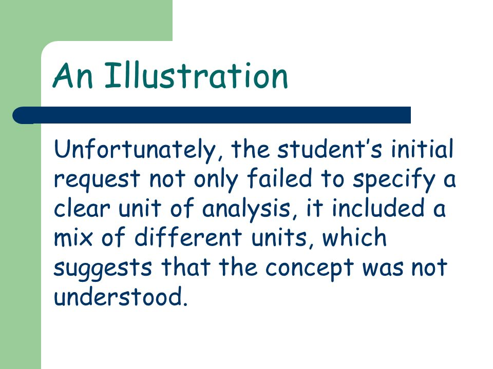 An Illustration Unfortunately, the students initial request not only failed to specify a clear unit of analysis, it included a mix of different units,