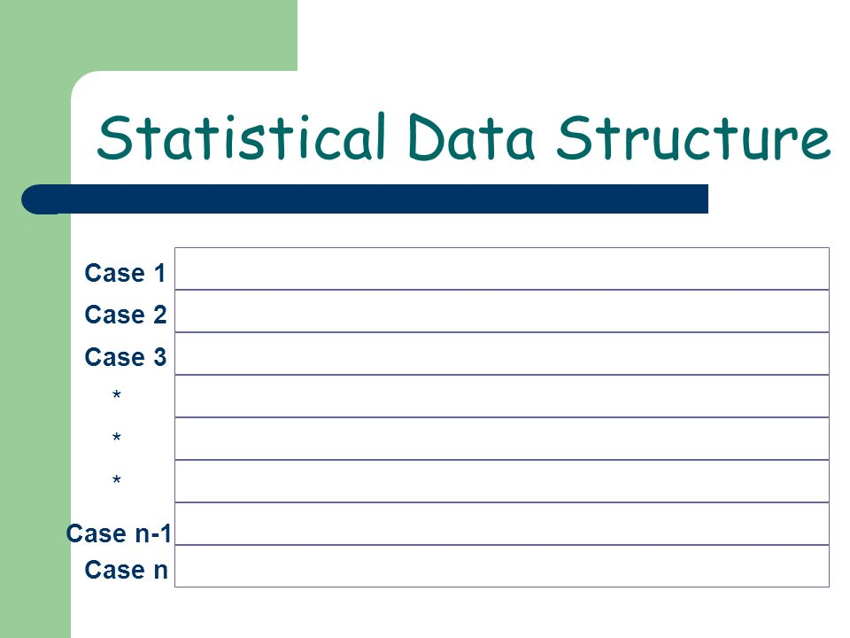 Case 1 Case 2 Case 3 * Case n * * Case n-1 Statistical Data Structure