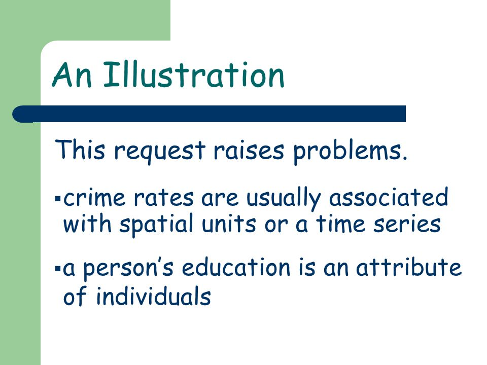 An Illustration crime rates are usually associated with spatial units or a time series a persons education is an attribute of individuals This request
