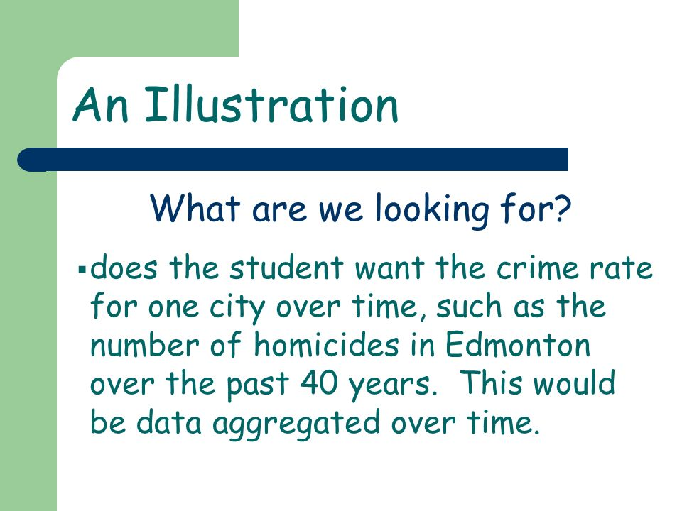 An Illustration does the student want the crime rate for one city over time, such as the number of homicides in Edmonton over the past 40 years. This