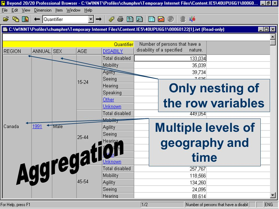 Only nesting of the row variables Multiple levels of geography and time