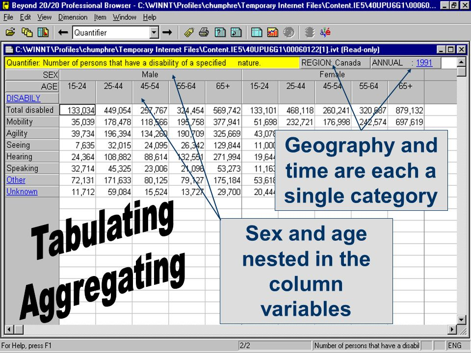 Sex and age nested in the column variables Geography and time are each a single category