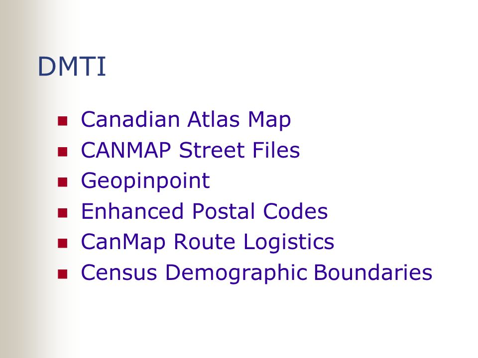 DMTI Canadian Atlas Map CANMAP Street Files Geopinpoint Enhanced Postal Codes CanMap Route Logistics Census Demographic Boundaries